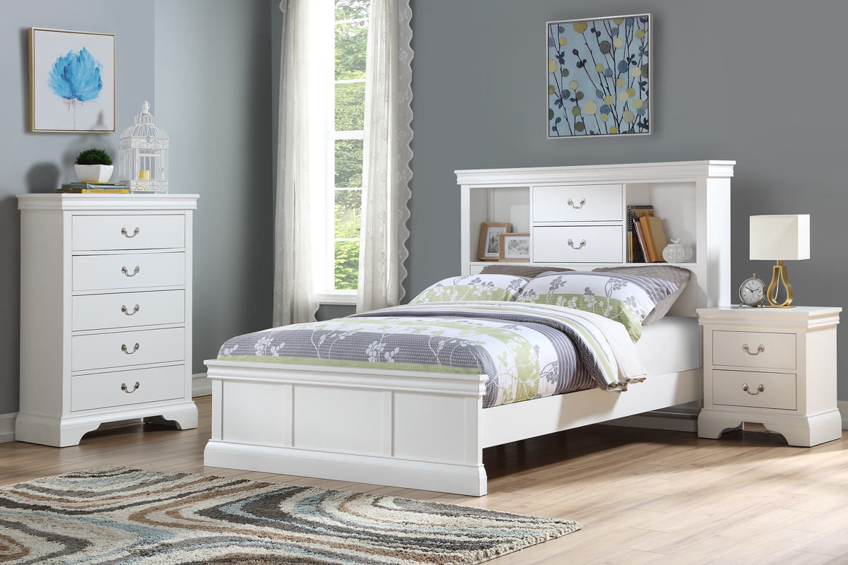 White Finish Wood Bookcase Headboard Twin Full Bed Set