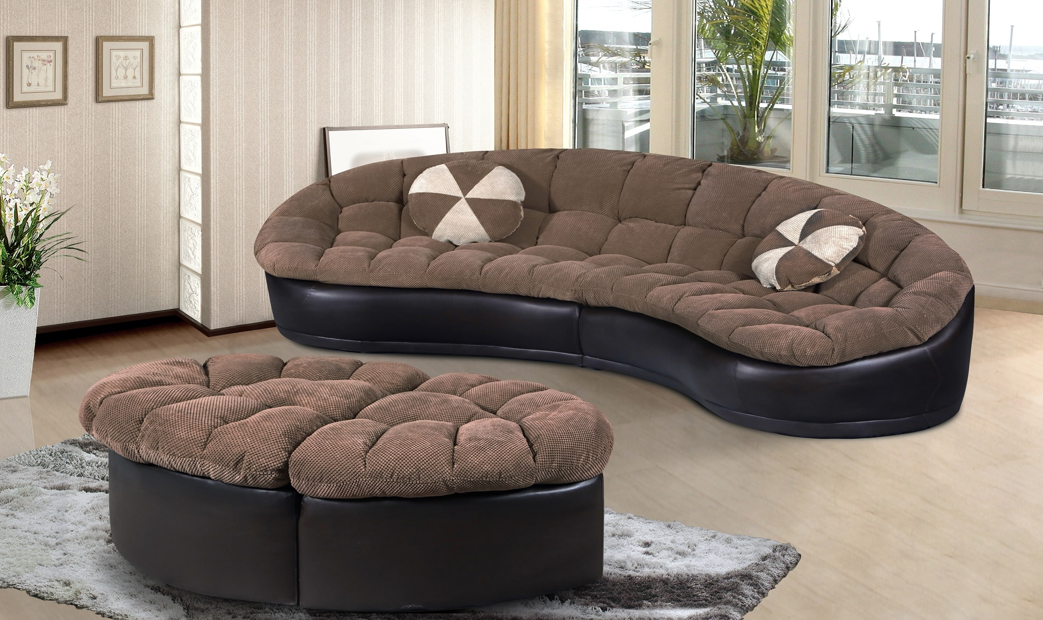 2Pc Chenille And Black Faux Leather Sectional With Ottomans