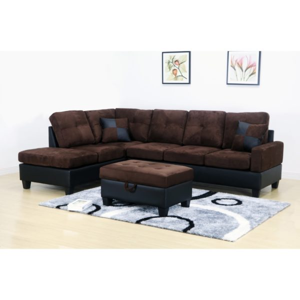 Dark Brown Microfiber Sectional Sofa And Storage Ottoman