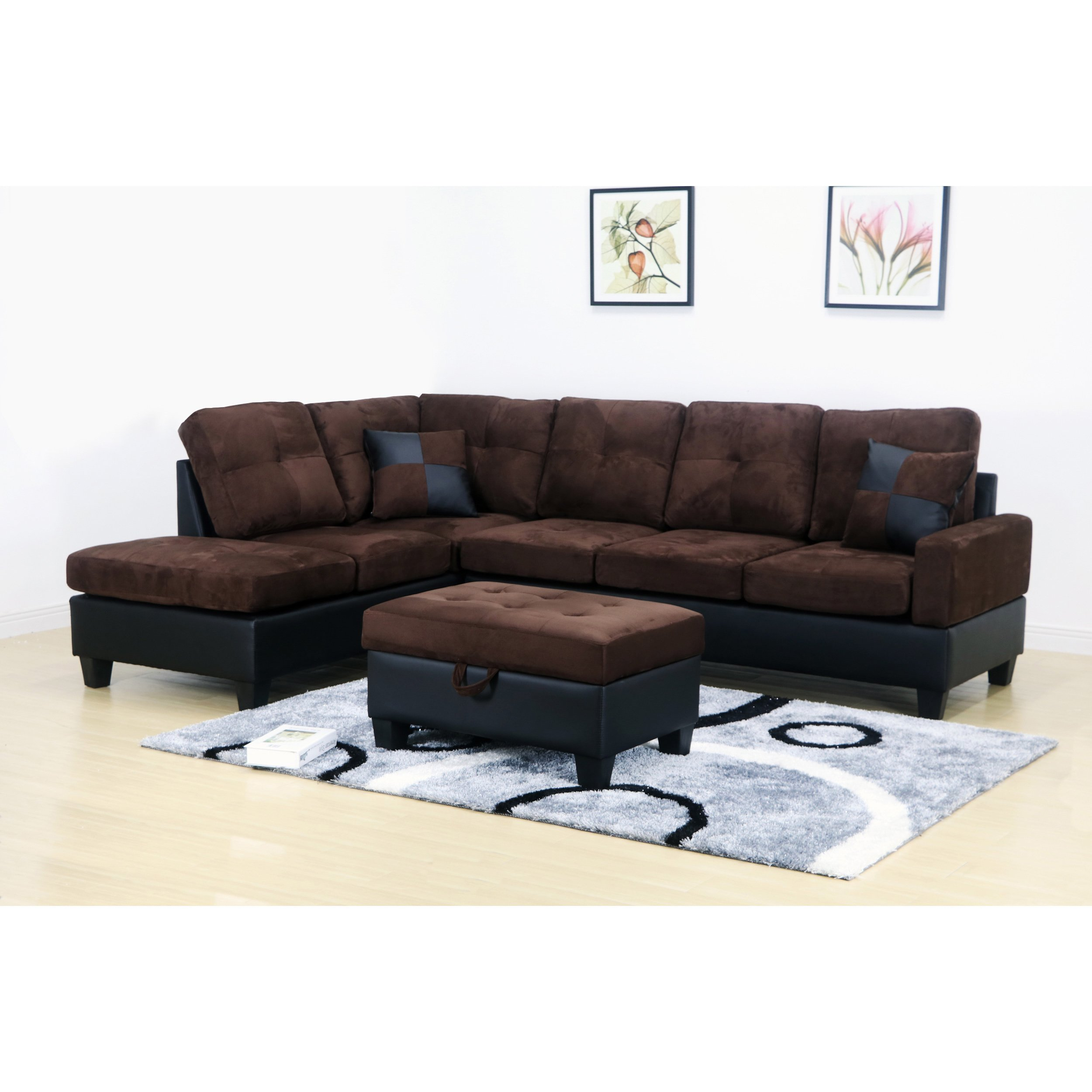 Marvelous Dark Brown Microfiber Sectional Sofa And Storage Ottoman Ibusinesslaw Wood Chair Design Ideas Ibusinesslaworg