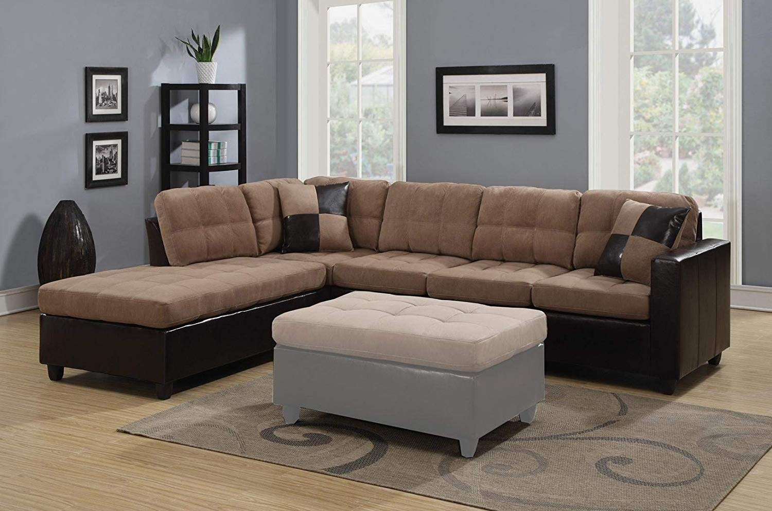 Miraculous Reversible Casual Tan Microfiber And Brown Faux Leather Sectional Sofa With Pillows Evergreenethics Interior Chair Design Evergreenethicsorg