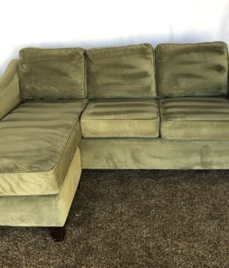 Green Plush Microfiber Sofa with Reversible Chaise Lounge in ...