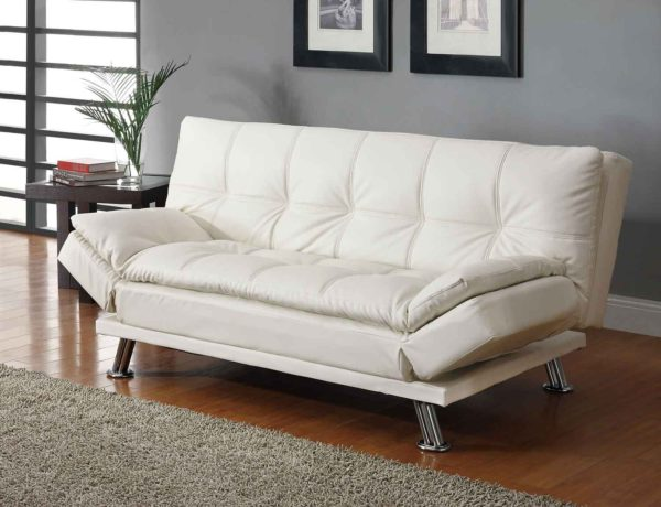 Contemporary White Bonded Leather Sofa Bed and Chrome Finish