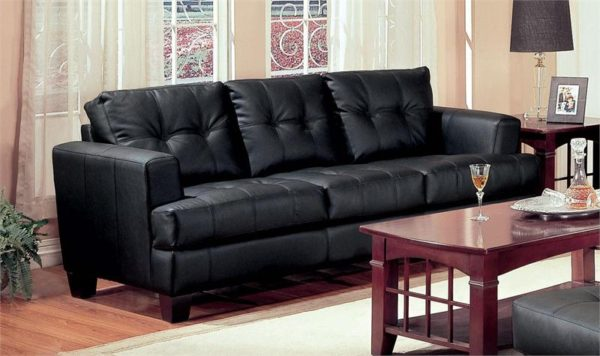 Contemporary Black Bonded Leather Sofa