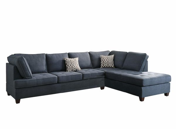 Pleasing Dark Blue Dorris Fabric 2Pc Sectional Sofa With Reversible Chaise Inzonedesignstudio Interior Chair Design Inzonedesignstudiocom