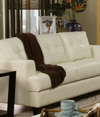 Contemporary Cream Bonded Leather Sofa in Portland Oregon ...