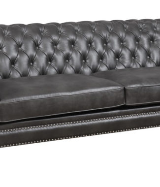 Faux Leather Sofa With Nailhead Trim And Rolled Arms in ...