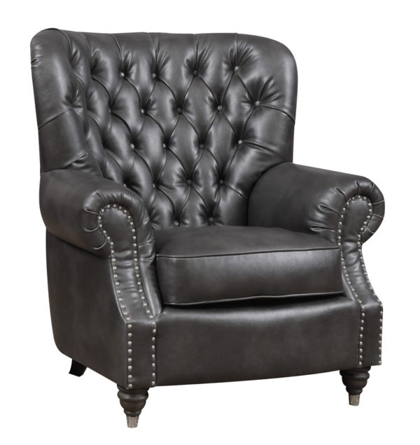 Fantastic Charcoal Faux Leather Accent Chair With Nailhead Trim And Rolled Arms Inzonedesignstudio Interior Chair Design Inzonedesignstudiocom