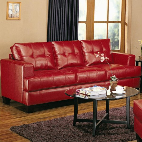 Contemporary Red Bonded Leather Sofa